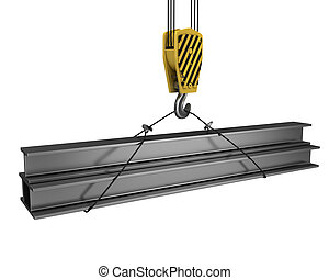 Crane hook lifts up few H girders isolated on white...