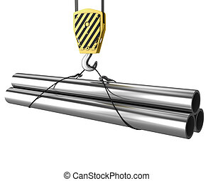 Crane hook lifts up few pipes isolated on white background
