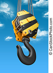 Crane hook on the sky background.