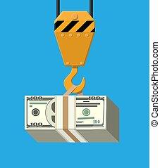 Crane hook with bunch of money.