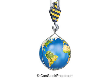 Crane hook with Earth globe, 3D rendering