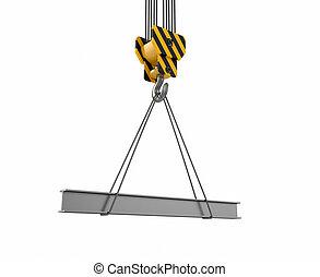 Crane hook with rail