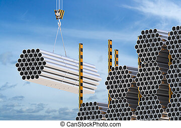 Crane hook with steel pipes on the blue sky