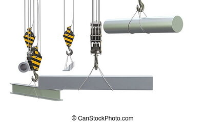 Crane hooks with metallurgical products, rolled metals...