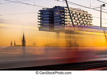 crane houses in cologne at sunset