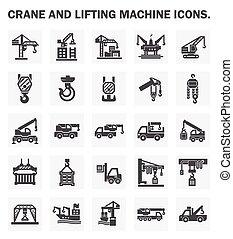 crane icon - Crane and lifting machine icons sets.