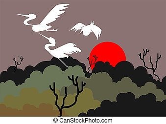 Crane	 - Illustration of a crane flying above trees