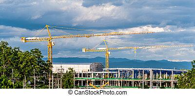 crane in construction site building
