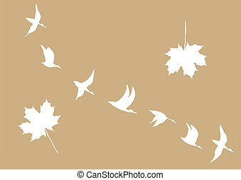 crane in sky on brown background, vector illustration