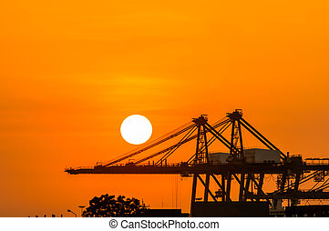 Crane in the industrial port