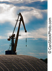 crane in the sea port at the sunset