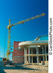 crane in work of construction of a building