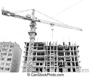 Crane is building a multi-storey house