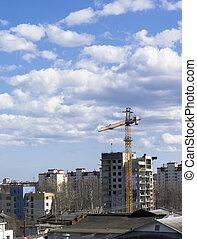 Crane is constructing house