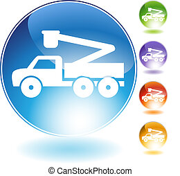 Crane lift truck crystal icon isolated on a white background.