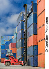 Crane lifter handling container box loading to truck in ...