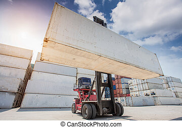 Crane lifter handling container box