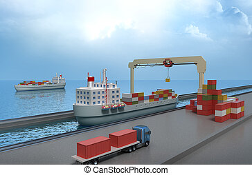 Crane lifting cargo container