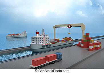 Crane lifting cargo container
