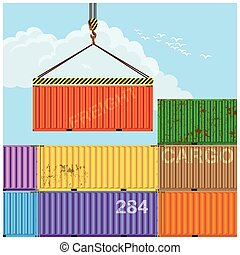 Crane lifting cargo containers - Stylized vector...