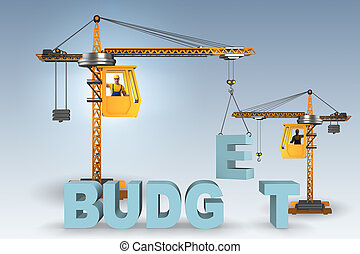 Crane lifting letter in budgeting concept