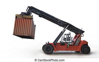 Crane lifting up container isolate on white
