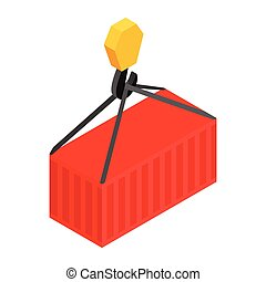 Crane lifts a red container with cargo