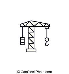 Crane linear icon concept. Crane line vector sign, symbol, illustration.
