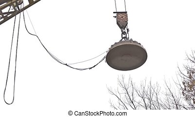 crane magnet boom on the street on a white background -...