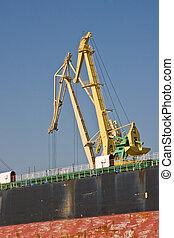 Crane of cargo ship
