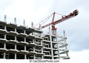 crane on a building in construction