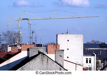 Crane on the blue sky