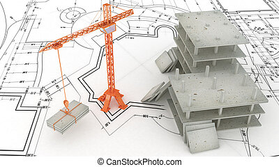 Crane on the construction site