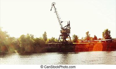 crane on the river