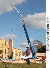 Crane on work site