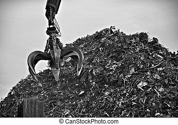 Crane operating on the junk yard