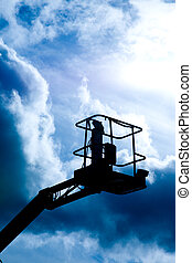 Crane Platform - A close up on an industrial elevated crane...