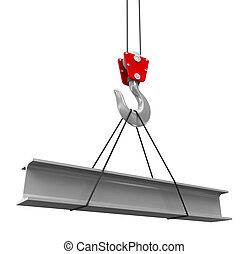 Crane raises a new Roof Beam. Image with clipping path