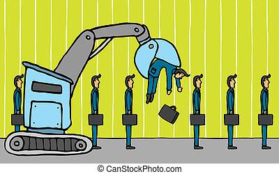 Crane removing businessman / Layoff