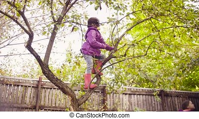 Little girl with apples in her hand and mouth climbing down a tree