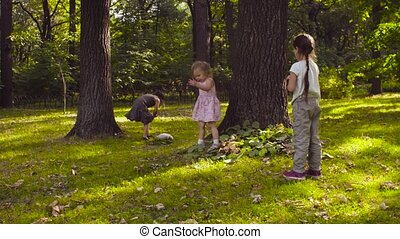 Three girls playing in the park on the grass among the trees