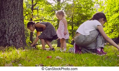 Three girls playing in the park on the grass near the tree -...