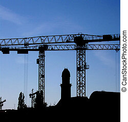 crane silhouette 01 - Silhouette of some construction cranes...
