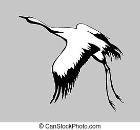 crane silhouette on gray background, vector illustration