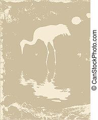 crane silhouette on grunge background, vector illustration