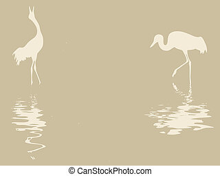 crane silhouette on old paper, vector illustration