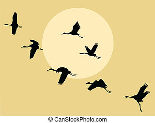 crane silhouette on solar background, vector illustration