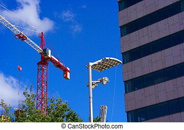 Crane Tower on Sky Background