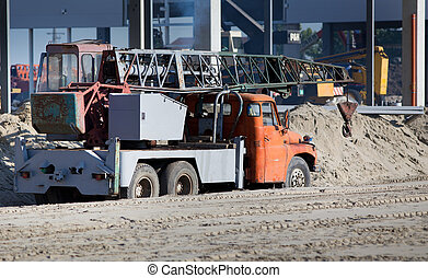 Crane truck at building site