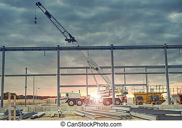 Crane truck at construction site